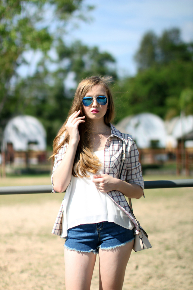 TSW Charlotte Boyfriend Cuff Sleeve Shirt in Cream Checks