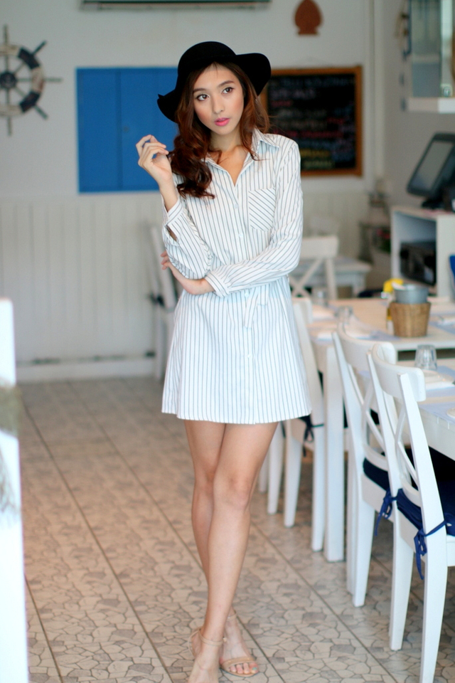 TSW Courtney Sashed Shirtdress in Pinstripes