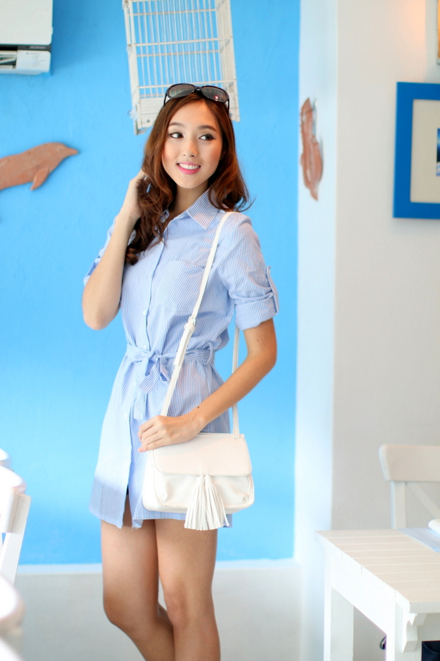 *EXTRAS FROM BO* TSW Courtney Sashed Shirtdress in Blue Stripes