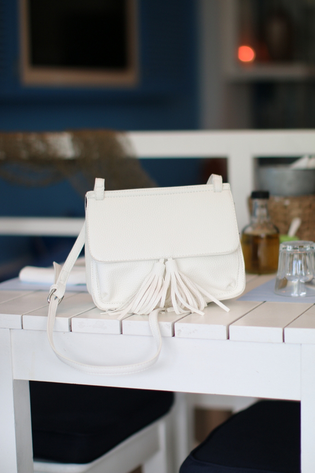 Jaclyn Tassel Crossbody Bag in White