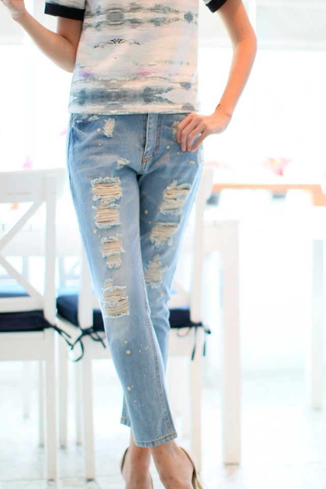 TSW Edith Distressed Splatter Denim Jeans