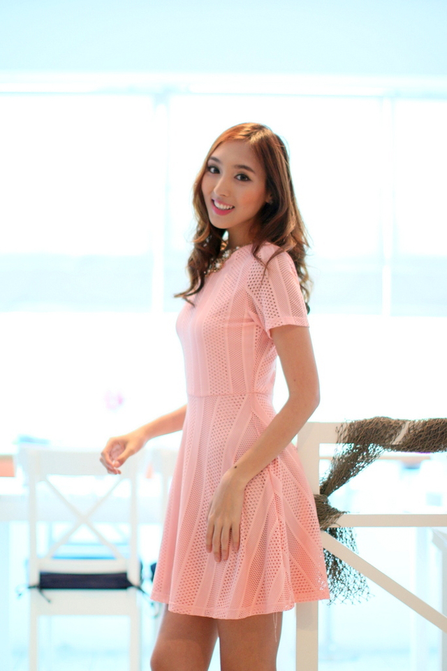 TSW Greece Lace Flare Dress in Carnation Pink