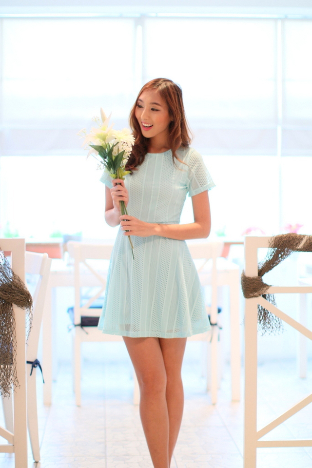 TSW Greece Lace Flare Dress in Tiffany Blue