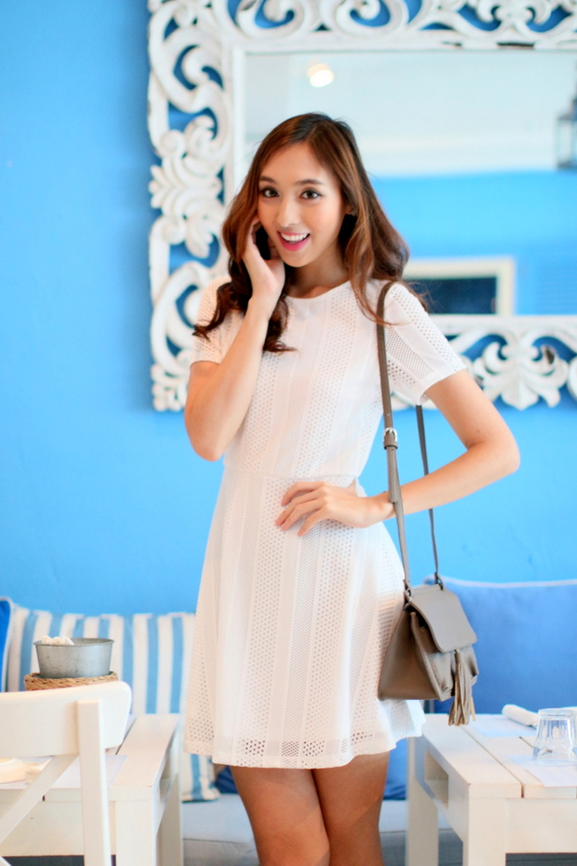 TSW Greece Lace Flare Dress in Pure White
