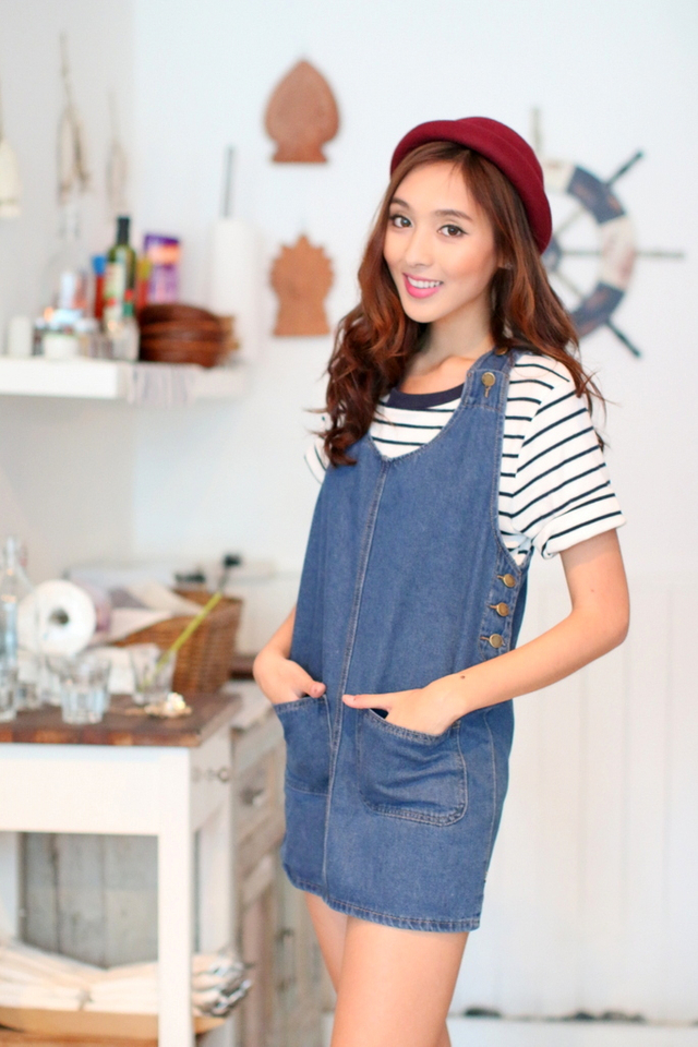 TSW Monique Denim U-Scoop Pinafore Dress
