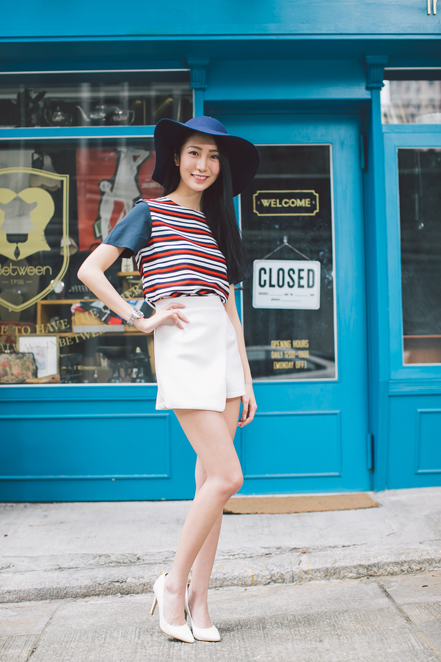 TSW Paige Contrast Stripes Top in Nautical