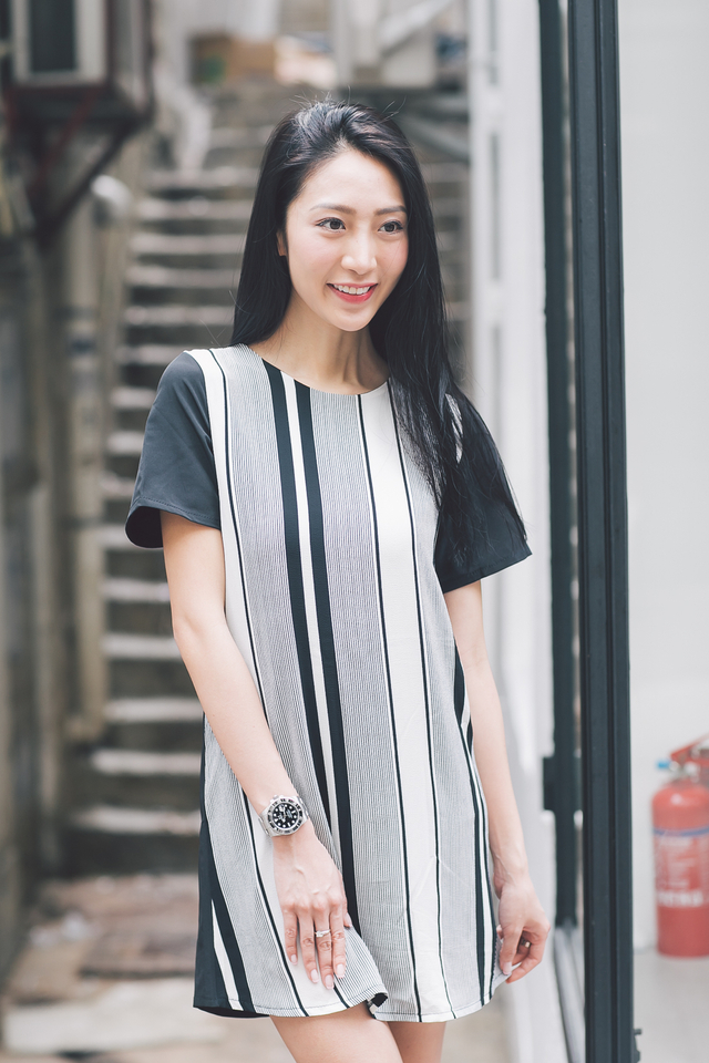 TSW Carmen Curved Hem Shift Dress in Vertical Stripes (XS)