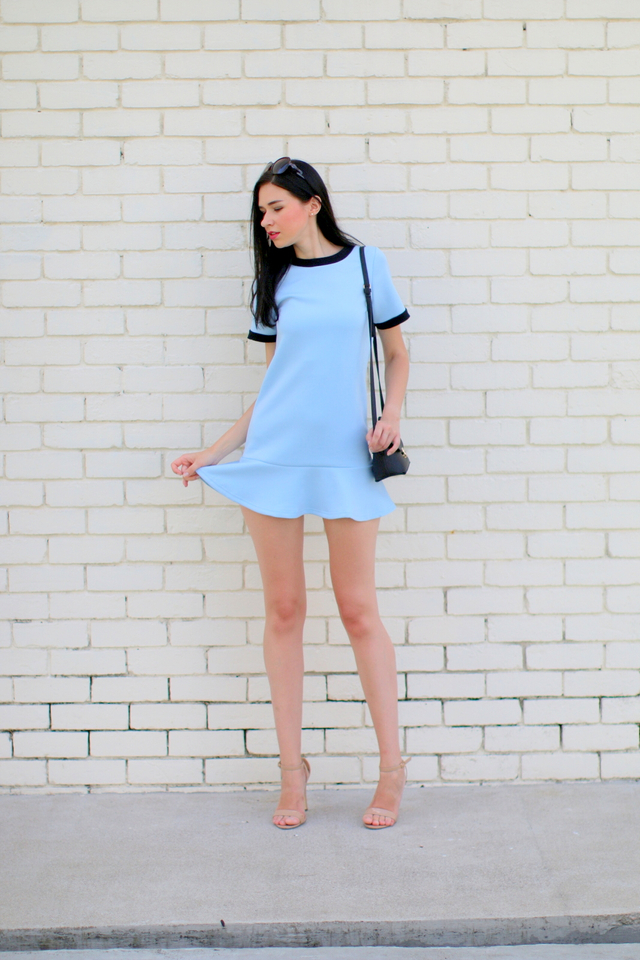 TSW Addison Drop Waist Dress in Powder Blue