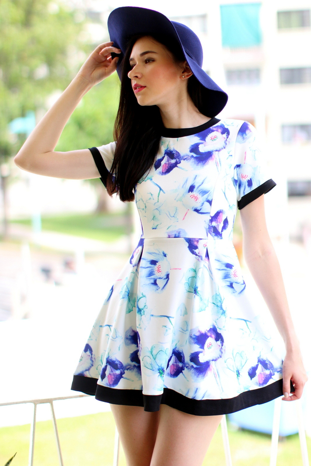 TSW Watercolour Neoprene Sleeve Dress in Purple Mix Floral