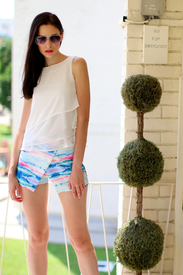 TSW Vacation Vibes Crossover Neoprene Skort In Pastel
