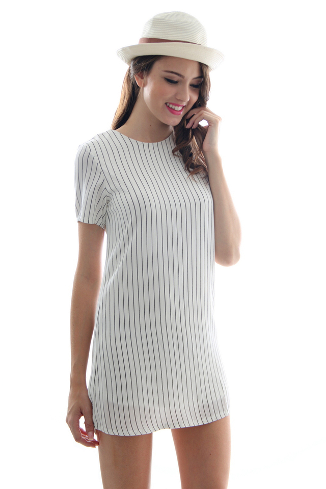 TSW Unbroken Pintripes Shift Dress in White