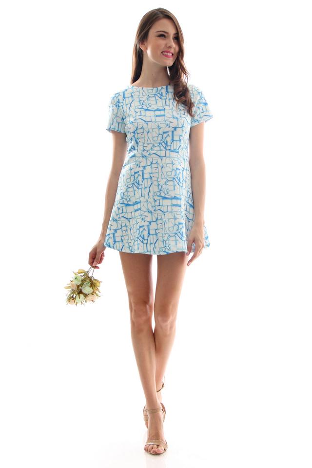 TSW Aloha Sleeve Neoprene Dress in Picasso