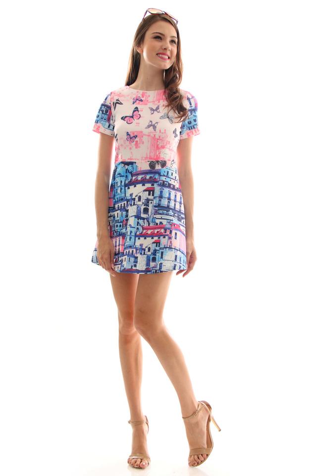 TSW Aloha Sleeve Neoprene Dress in Parisian (L)
