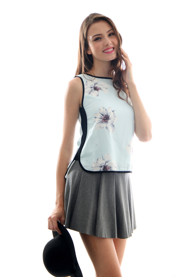 TSW Robyn Asymmetrical Tank Top in Soft Peonies