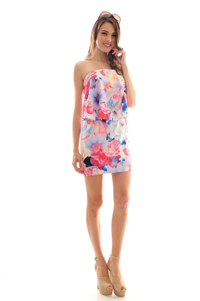 TSW Bronwen Flutter Tube Dress in Floral Mauve (M)