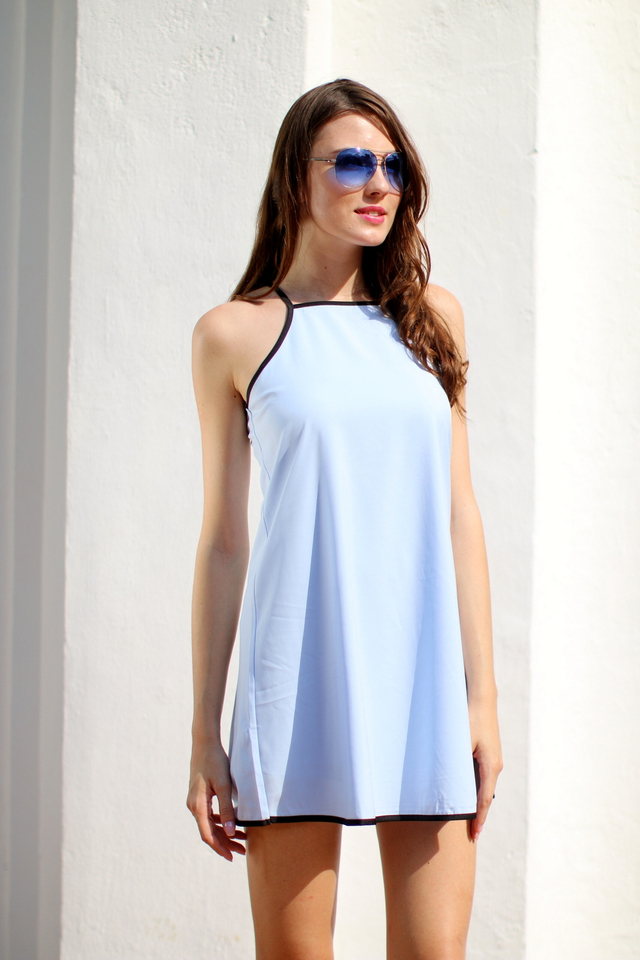 TSW Kairos Contrast Swing Dress in Powder Blue (L)