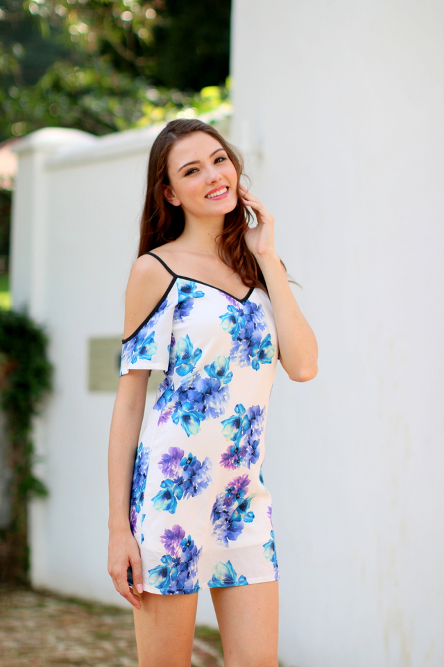 TSW Honora Cultured Cold Shoulder Dress In Blue Floral