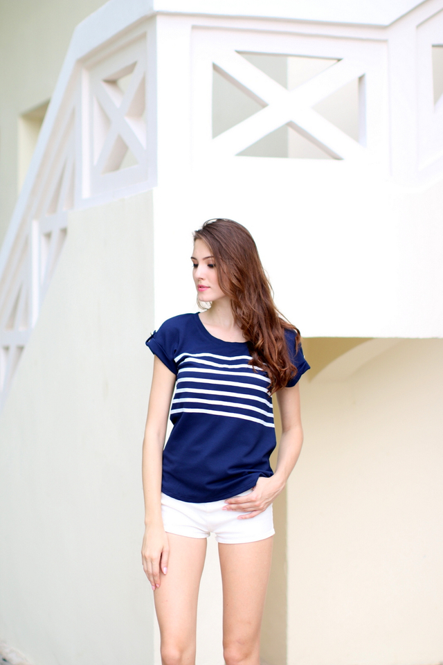 TSW Ahoy Sailor Top in Navy Blue (L)