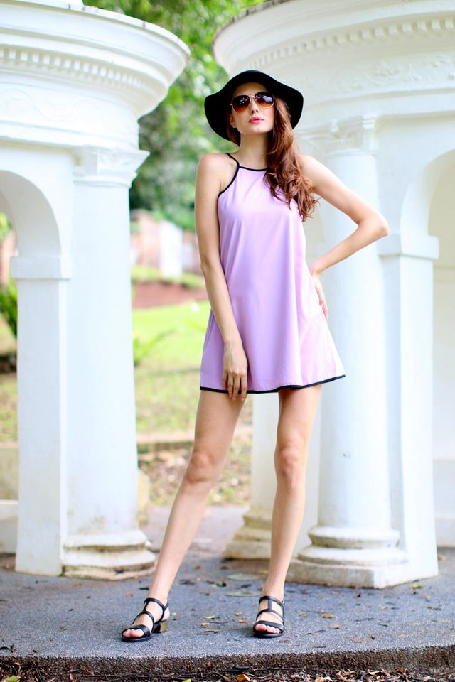 TSW Kairos Contrast Swing Dress in Lilac (L)