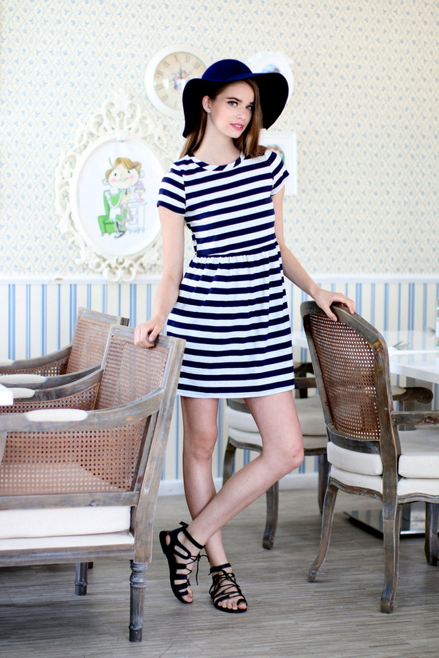 TSW Wildest Dreams Striped Babydoll Dress in Grey/Blue