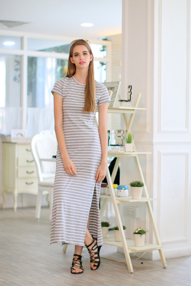 TSW Enchanted Jersey Slit Maxi Dress in Stripes