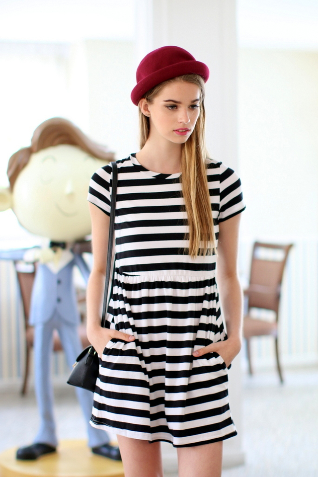 TSW Wildest Dreams Striped Babydoll Dress in Black/White