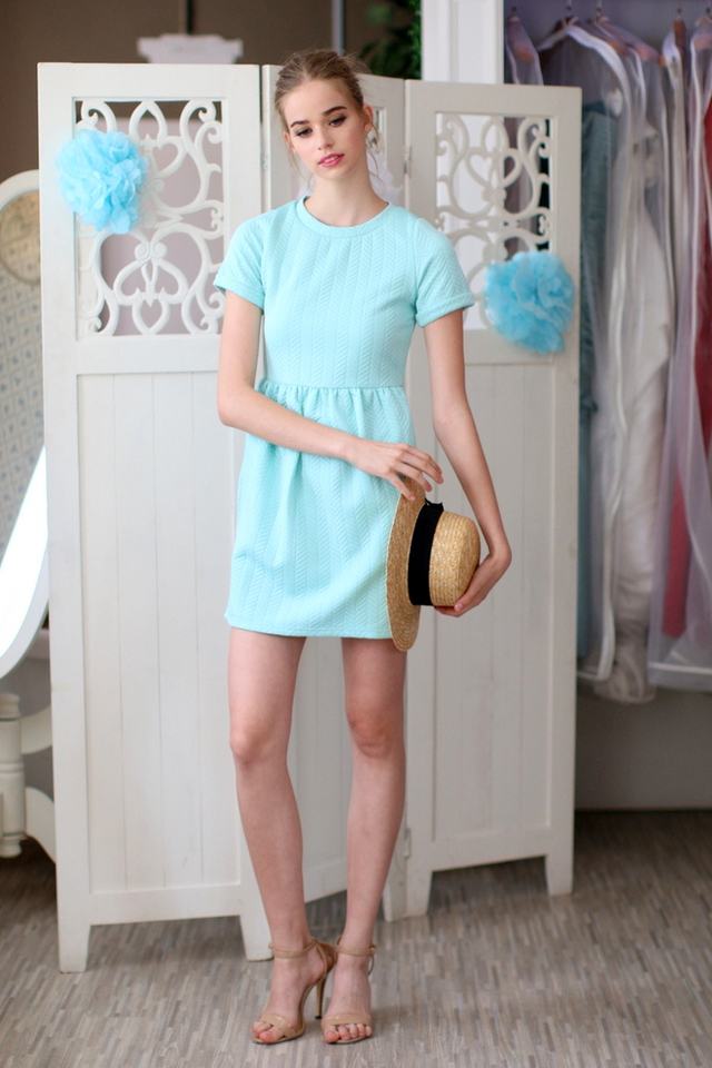 TSW Wonderland Textured Babydoll Dress in Mint (L)