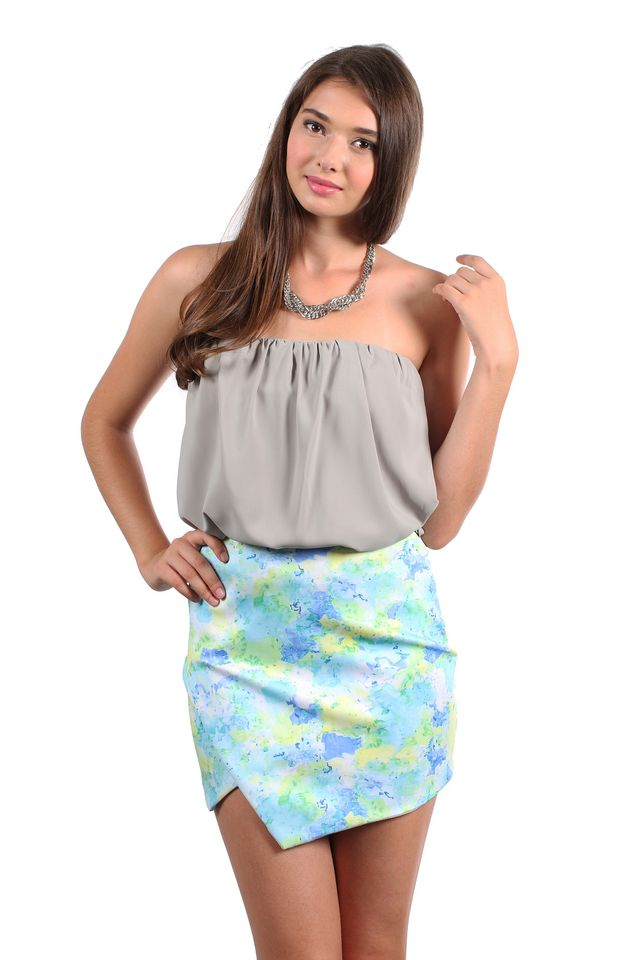 TSW Fairy Dust Tiered Tube Top in Grey (L)