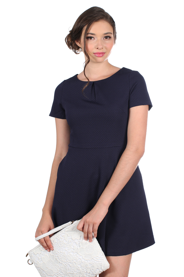 TSW Arianna Bow Back Dress in Navy (XS)