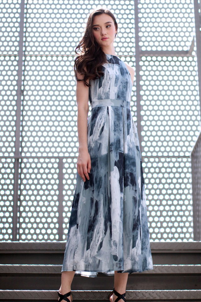 *RESTOCK* TSW Riley Printed Maxi Dress in Grey Marble