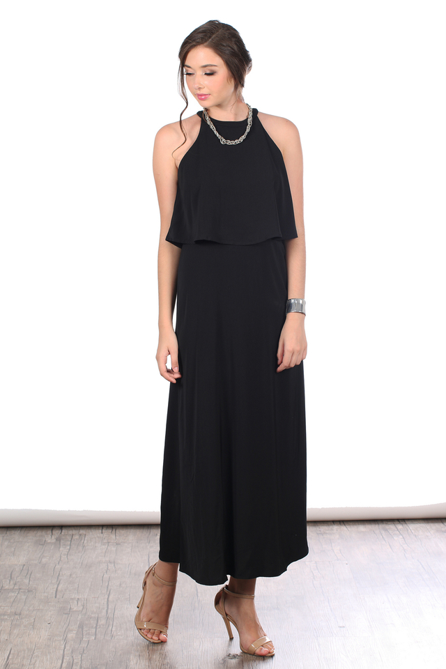 TSW Sadie Tiered Maxi Dress In Black