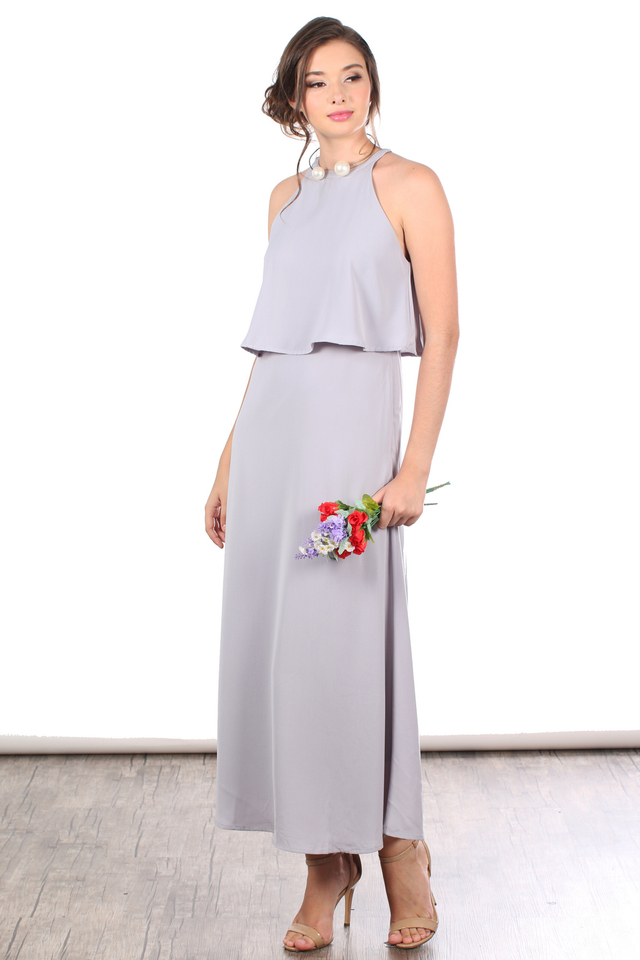 TSW Sadie Tiered Maxi Dress In Grey