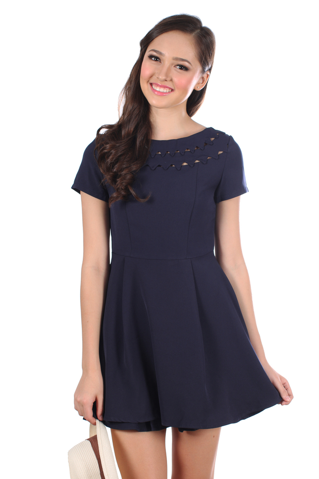 TSW Uptown Cut Out Neckline Dress in Navy Blue (XS)