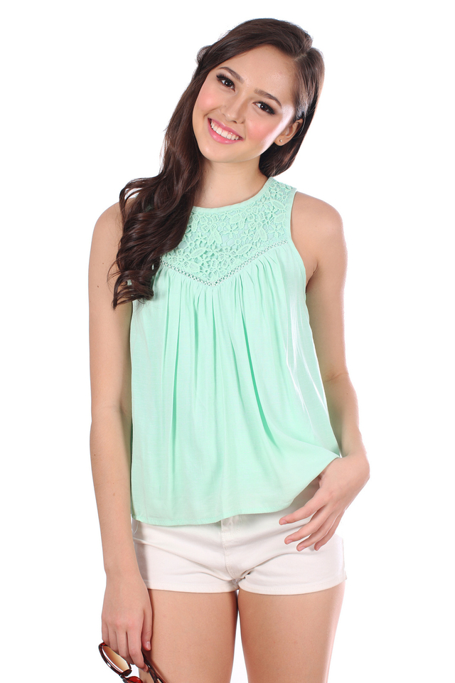 TSW Ivie Crochet Neckline Top in Apple Green