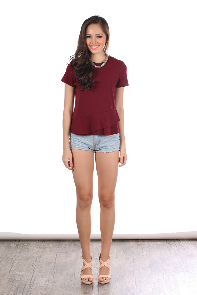 TSW Raine Double Side Tiered Top in Wine (XS)