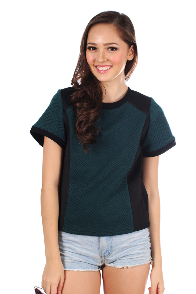TSW Auguste Textured Contrast Top in Forest Green (XS)
