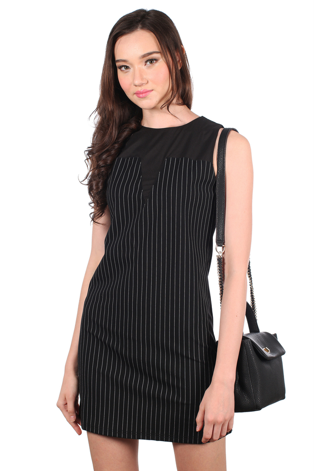 TSW Selena Contrast Neckline Pinstripes Dress in Black (XS)