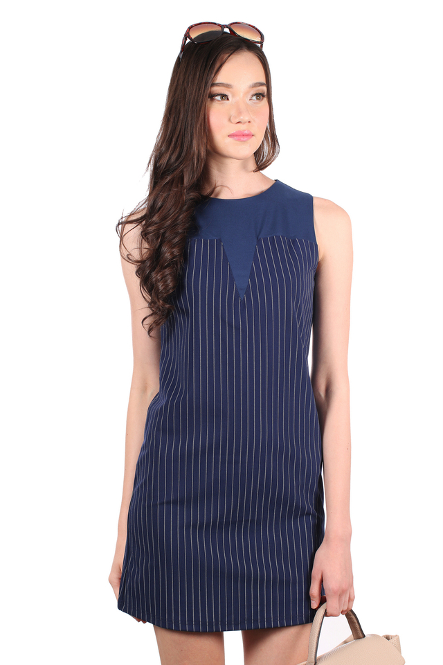 TSW Selena Contrast Neckline Pinstripes Dress in Navy