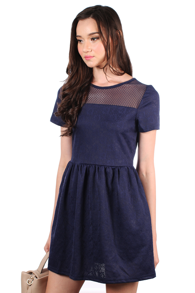 TSW Crystal Mesh Embossed Dress in Navy (XS)