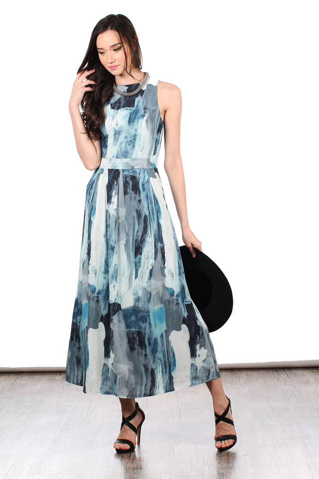 *RESTOCK* TSW Riley Printed Maxi Dress in Blue Marble