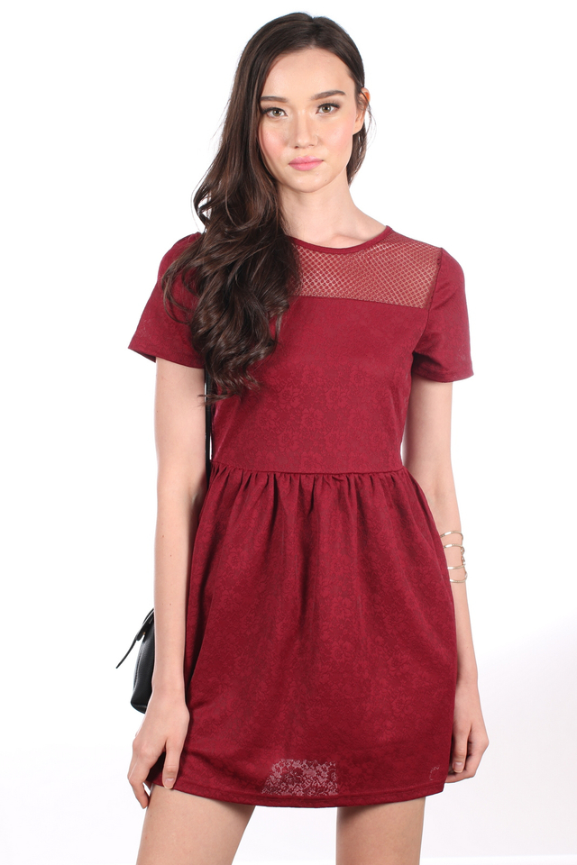 TSW Crystal Mesh Embossed Dress in Maroon