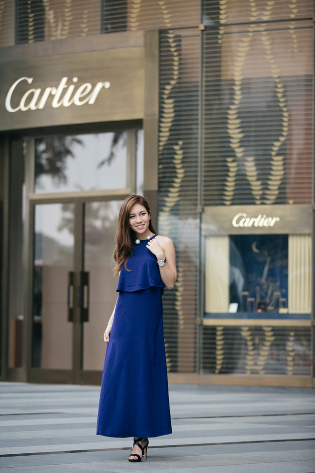 TSW Sadie Tiered Maxi Dress In Navy Blue