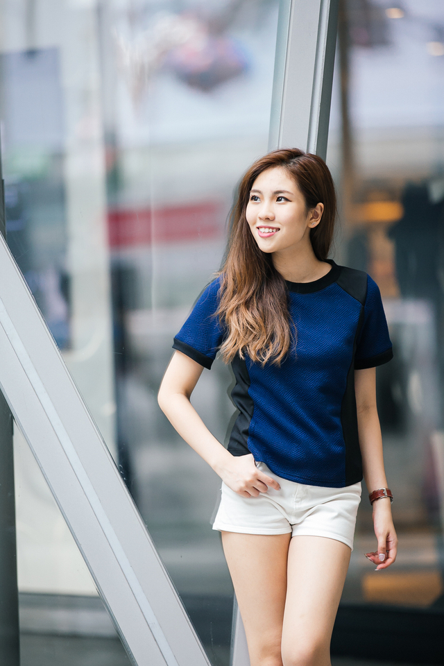 TSW Auguste Textured Contrast Top in Navy