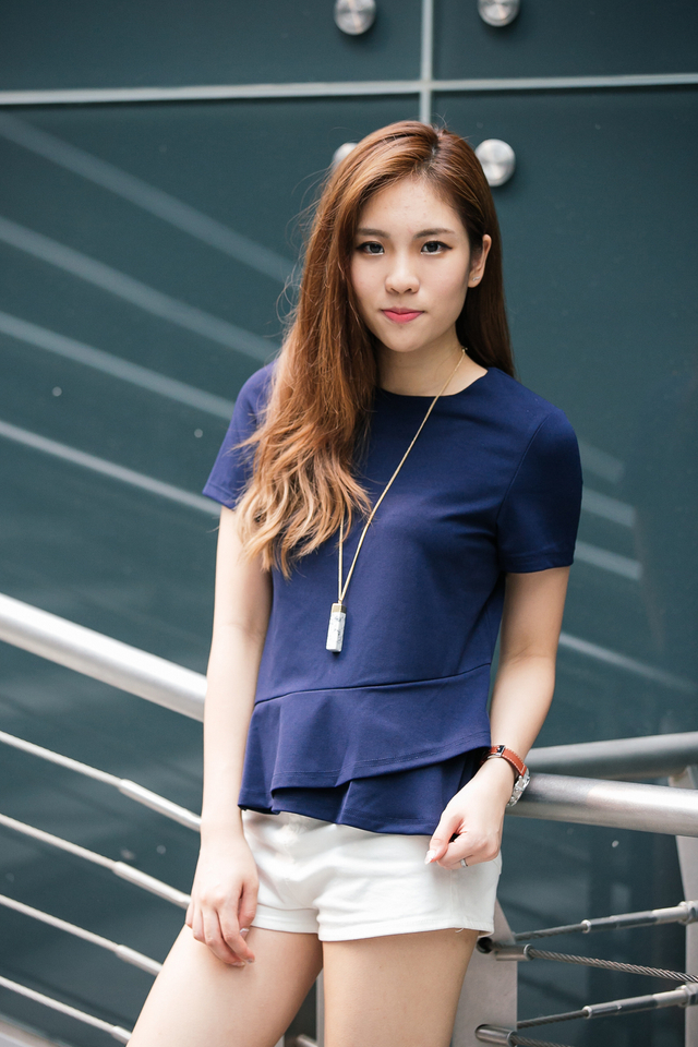 TSW Raine Double Side Tiered Top in Navy