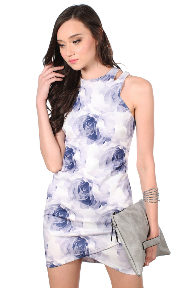TSW Violet Cut Out Overlap Dress in Purple Rose (L)