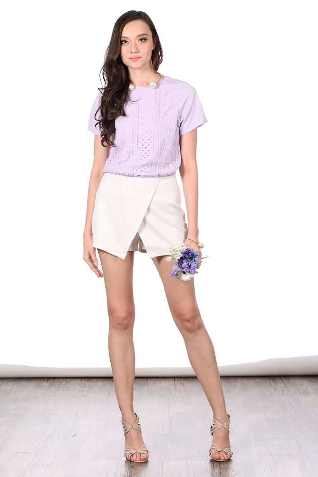 TSW Gypsy Lace Overlay Front Top in Lilac (XS)