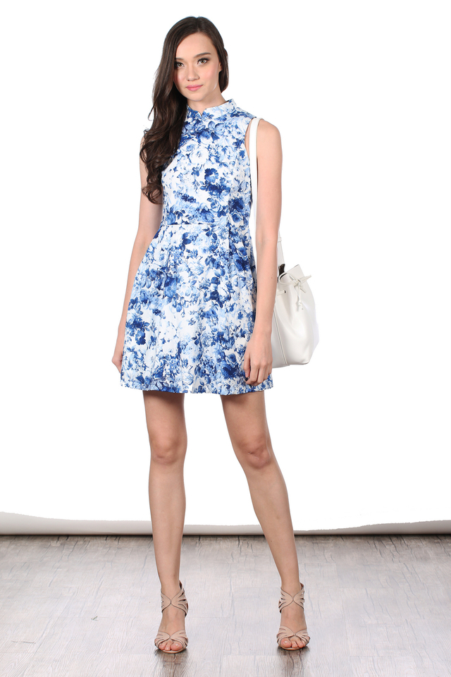 TSW Detachable Collar Cheongsam Dress in Porcelain Florals