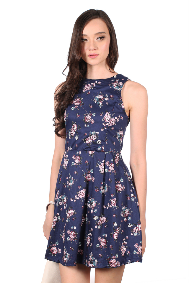 TSW Detachable Collar Cheongsam Dress in Navy (L)