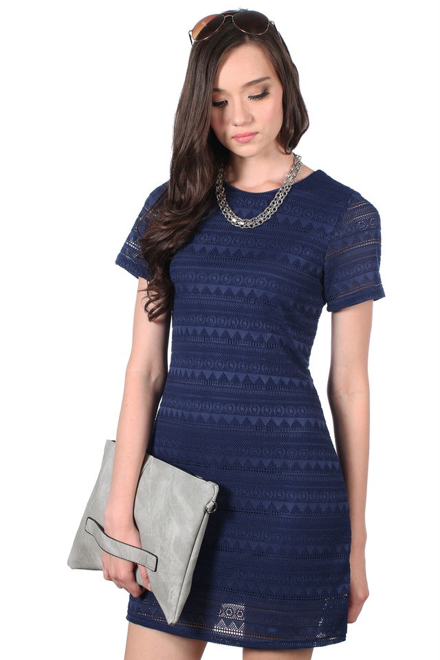 TSW Bella Classic Lace Dress in Navy (XS)