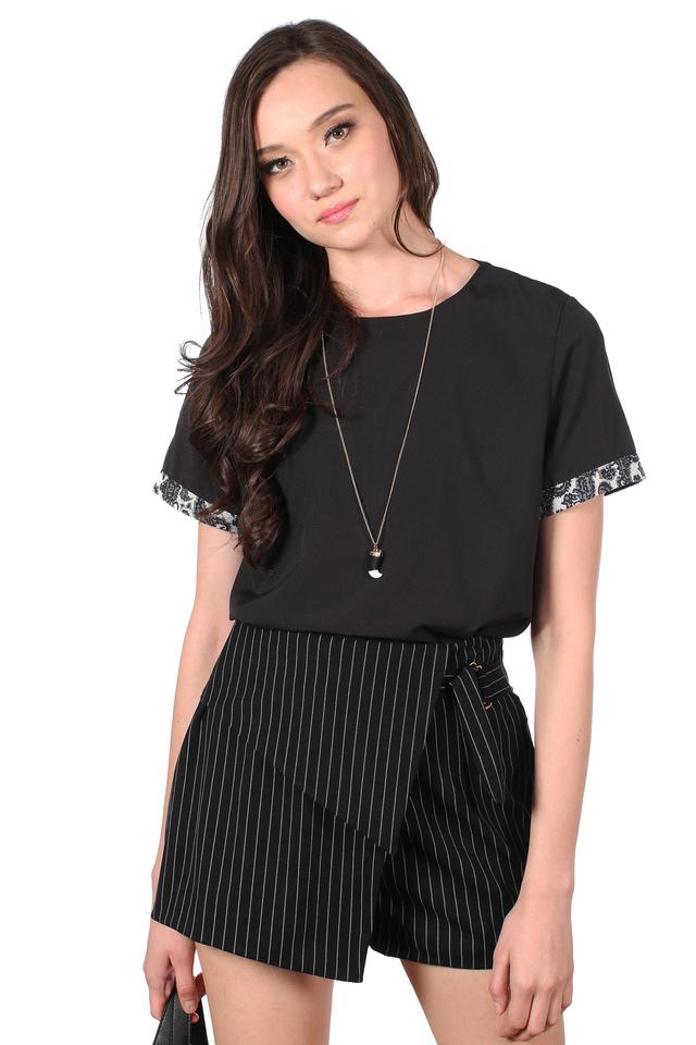 TSW Kara Embroidery Sleeve Hem Top in Black